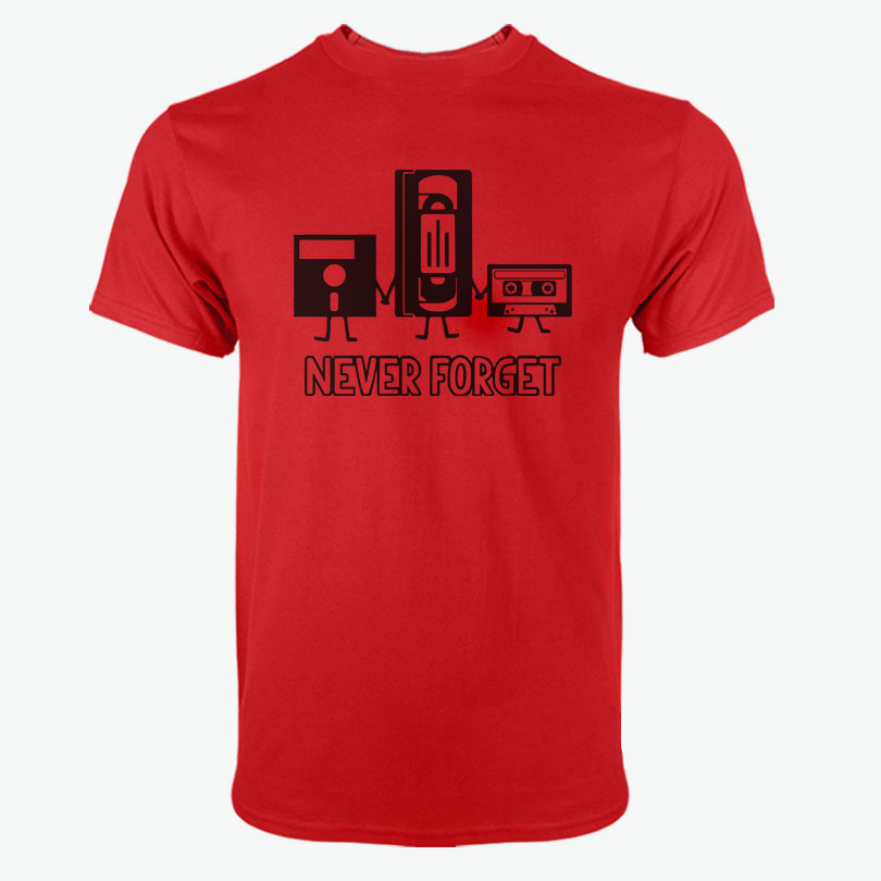 100% Baumwolle Mann T-shirts Kurzarm O Neck Mann Nie Vergessen Lustige Retro Jungs Männlichen T Pullover Shirts Tops