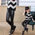 Primavera criança calças de couro falso elástico criança do sexo feminino PU legging criança calças skinny pretas calças GPU682