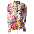 Hot Sale Fashion Vintage Floral Print Pattern Chiffon Ladies Eelegant Flower Brand Designer Women Long Sleeve Shirt Tops