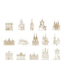 45 шт./компл. творческий Европейский Архитектура Бумага Стикеры украшения DIY ручной искусств Craft Стикеры