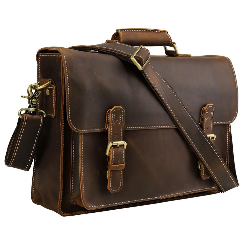 TIDING Men Briefcases Office Laptop Bag Vintage Style Cross Body Shoulder Messenger Bag Cowhide Leather 10995