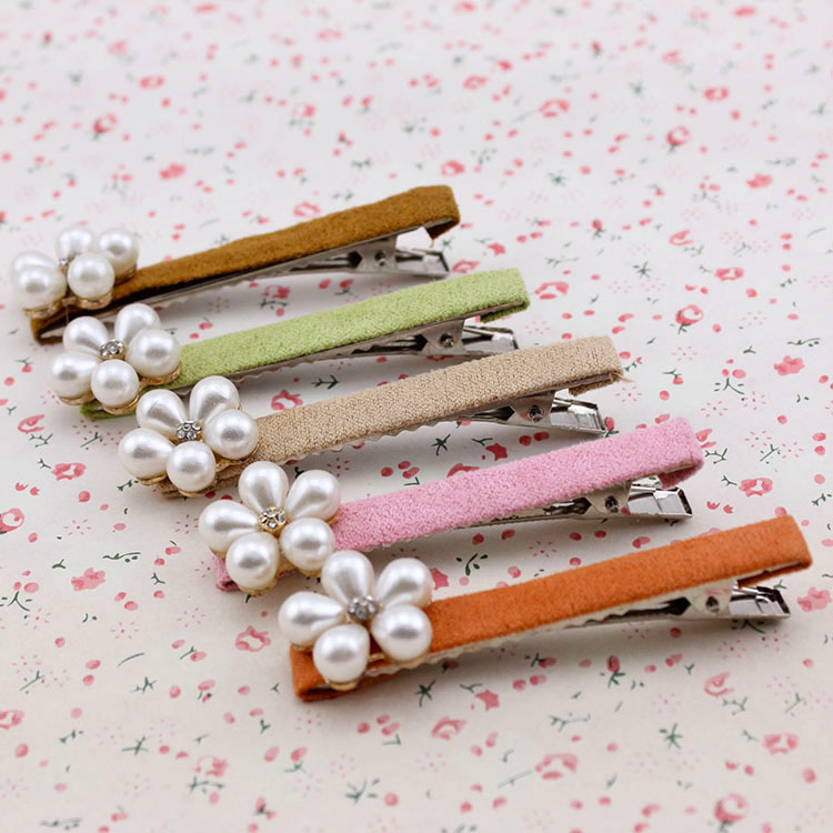 Hair accessories Pearl flower duckbill clip hairpin ornaments, free home delivery halloween party zombie skull skeleton hand bone claw hairpin punk hair clip for women girl hair accessories headwear 1 pcs