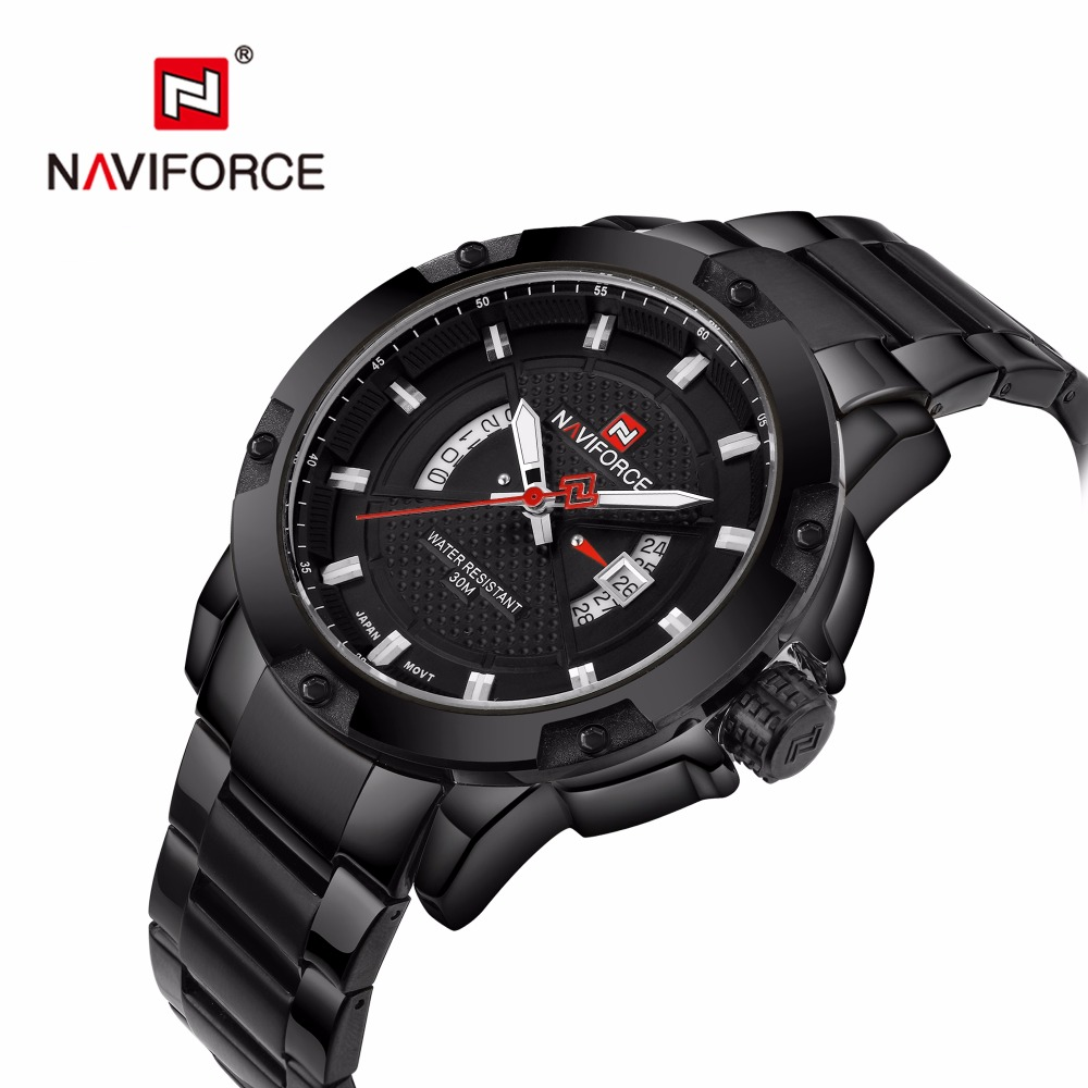 Watches Men Naviforce Brand Wristwatches for men Full Stainless steel Analog Quartz-watch relogio masculino Army Military watch цена