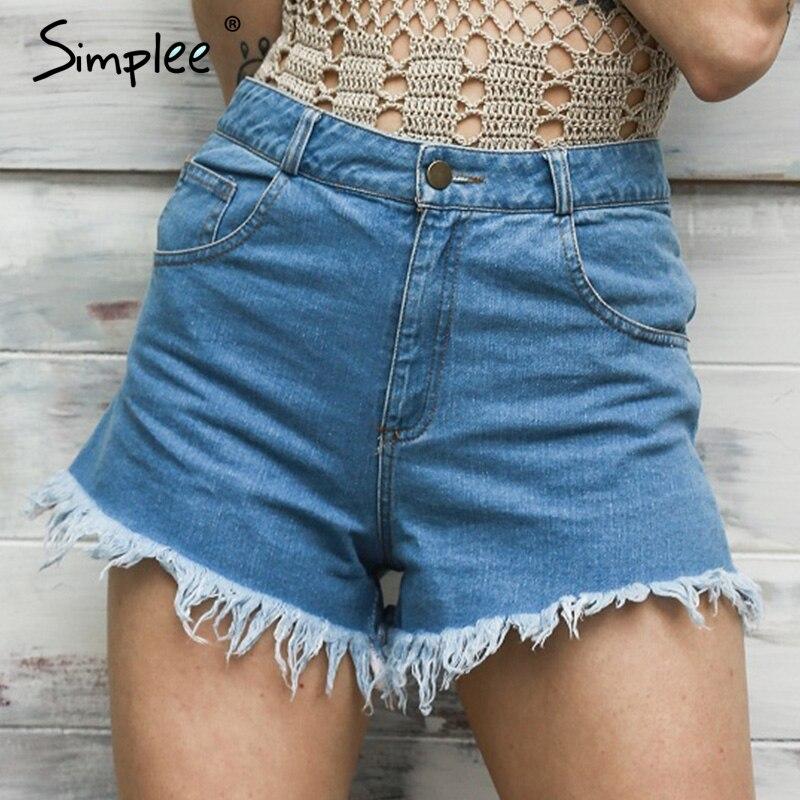 Simplee Denim   shorts   women zipper Classic all-match fringe blue   short   jeans Casual 2018 summer beach sexy mini   shorts   pockets