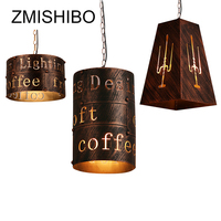 ZMISHIBO Industry Style Pendant Lamp Iron Red Bronze 110V 220V 17CM 35CM Vintage Droplight For Coffee