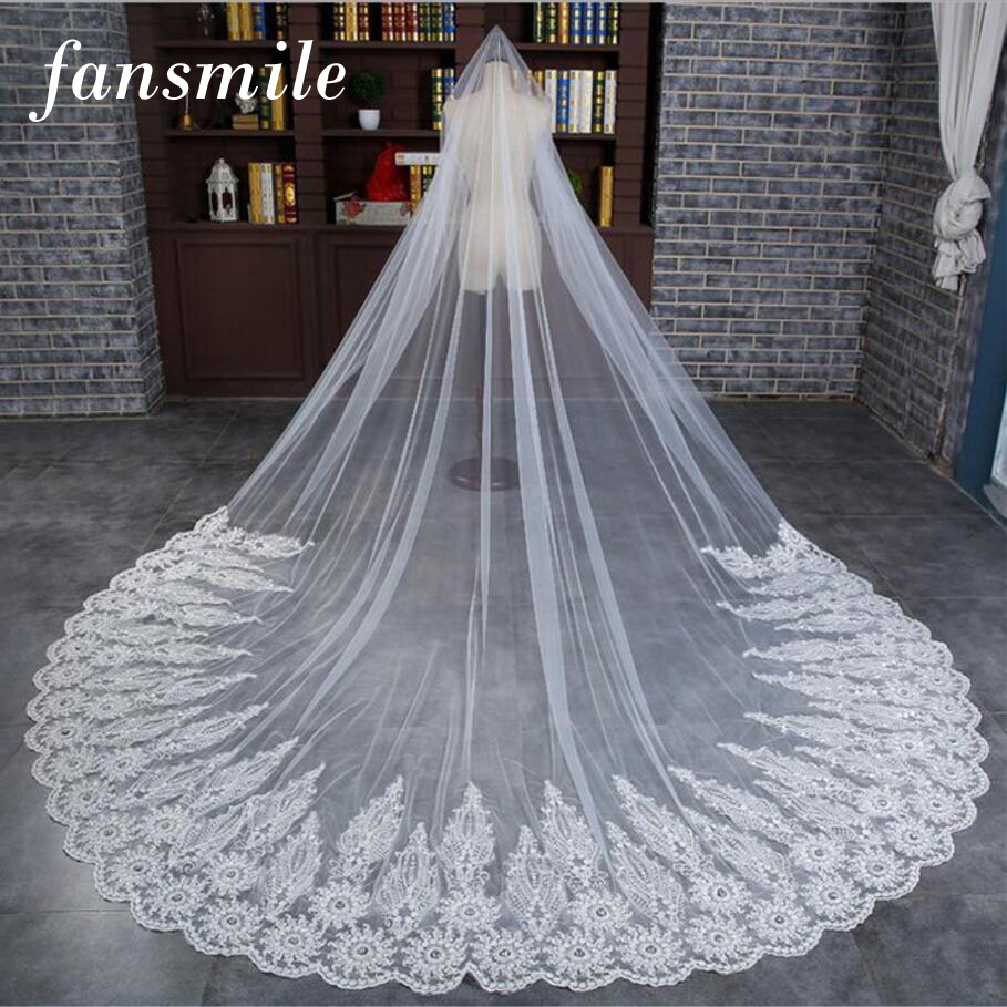 Fansmile 3.5 M Ivory Cathedral Wedding Veils Long Lace Edge Bridal Veil with Comb Wedding Accessories Bride Veil FSM-445V