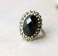 Thai Silver Wholesale Fashion Cutting Surface Black Onyx Ring European Wind Ring Taobao Explosion