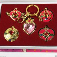 Sailor Moon Tsukino Usagi Pretty Guardian Necklace Pendant Keychain Weapons 5pcs/Set