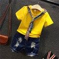 2017 Новая Мода Весна-Лето Одежда Детей С Короткой Футболке AB26 Отверстие Джинсовые Шорты Dress