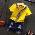 2017 nueva moda de primavera y verano ropa de niños con la camiseta corta ab26 agujero pantalones cortos de mezclilla dress