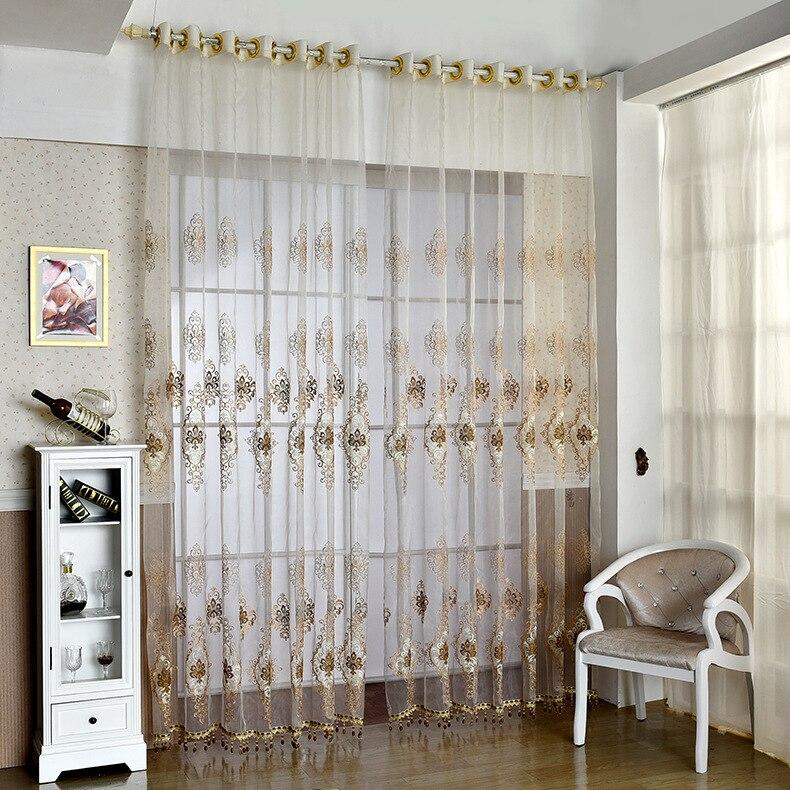 la nueva ventana doble hilo de seda exquisito bordado cortina de tul de hilo puro para saln comedor dormitorio con sala especia