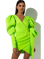 Lime Green Mini Bodycon Dress Women Clothes 2019 Dresses Woman Party Night Puffy Sleeves Neon Black Red White