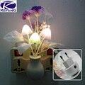 220 V Noche Bebé Colorido Romántico Sueño Sensor Noche de Luz LED lámpara de la seta de planta de flor para el hogar dormitorio decoración ue us enchufe