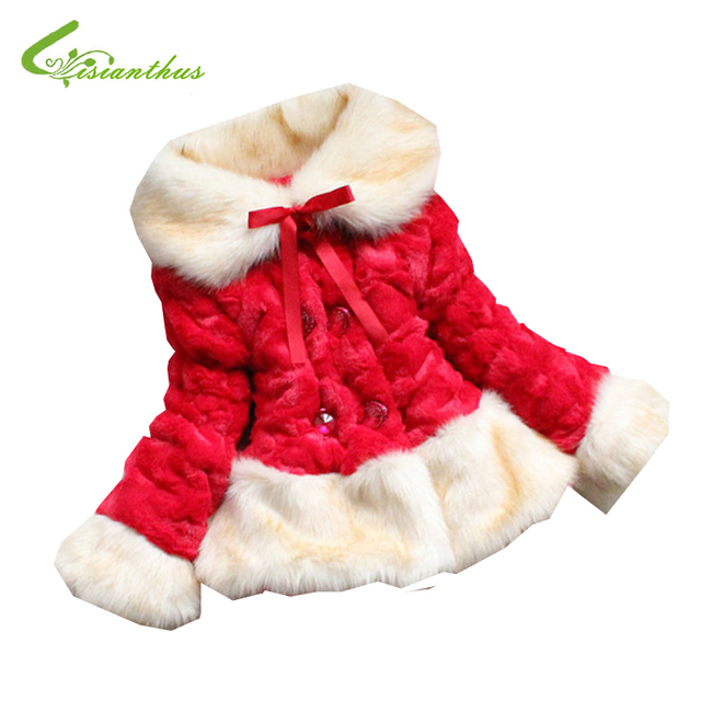 Girls Winter Jackets Kids Faux Fur Coats Children Luxury Outwear Fur Collar Fleece Lining Clothes Princess Clothing Drop Ship