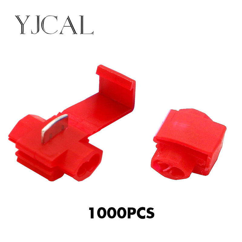 1000PCS Red Scotch Lock Electric Wire Cable Connectors Fast Splice Crimp Non Destructive Without Breaking Line Clamp|Terminals| |  - title=
