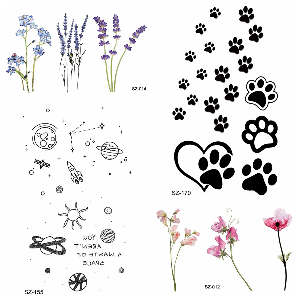 Kids Cartoon Temporary Tattooo Stickers Women Body Art Flower Fake Tattoo Cute Paw Girls Morning Glory Waterproof Tatoos Gifts