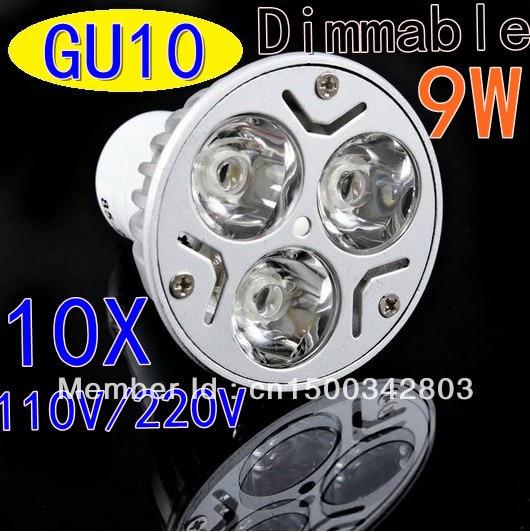 10X High power CREE GU10 3x3W 9W110V / 220V Dimmable Light lamp Bulb LED Downlight Led Bulb Warm/Pure/Cool White