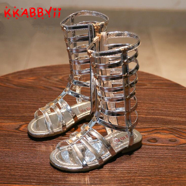 b40855e6209d 2019 New Summer Girl Roman Sandals Hollow Woven Sandals Princess Shoes  Rivet Gladiator Baby Boots Girls Fashion High Tube Shoes