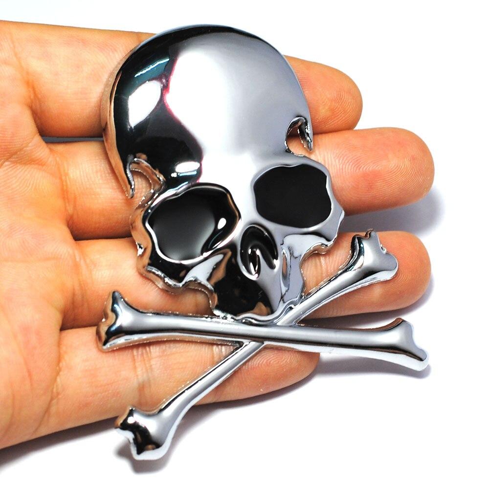 7.2x6CM 3D металл череп скелет скрещенные кости автомобиль мотоцикл наклейка этикетки грузовик эмблемы значка автомобиля для укладки украшения аксессуары