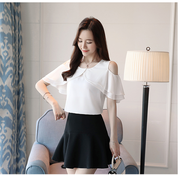 New 2018 Summer Fashion Casual Chiffon Women Blouses Shirts White Apricot Simple White Elegant Female Clothing Blusas 0004 30
