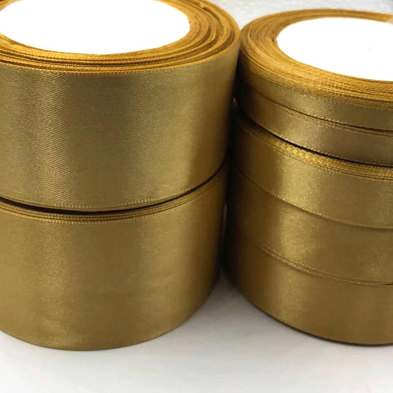 Gold Silk Satin Ribbon with gold Wedding Party Decoration Gift Wrapping Christmas Apparel Sewing & Fabric gift Ribbon 104