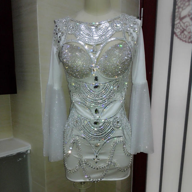 Argent Blanc Femmes Strass Tenue de Justaucorps Costume À Manches Longues de  Soirée Vêtements Discothèque Performance 13685f03163