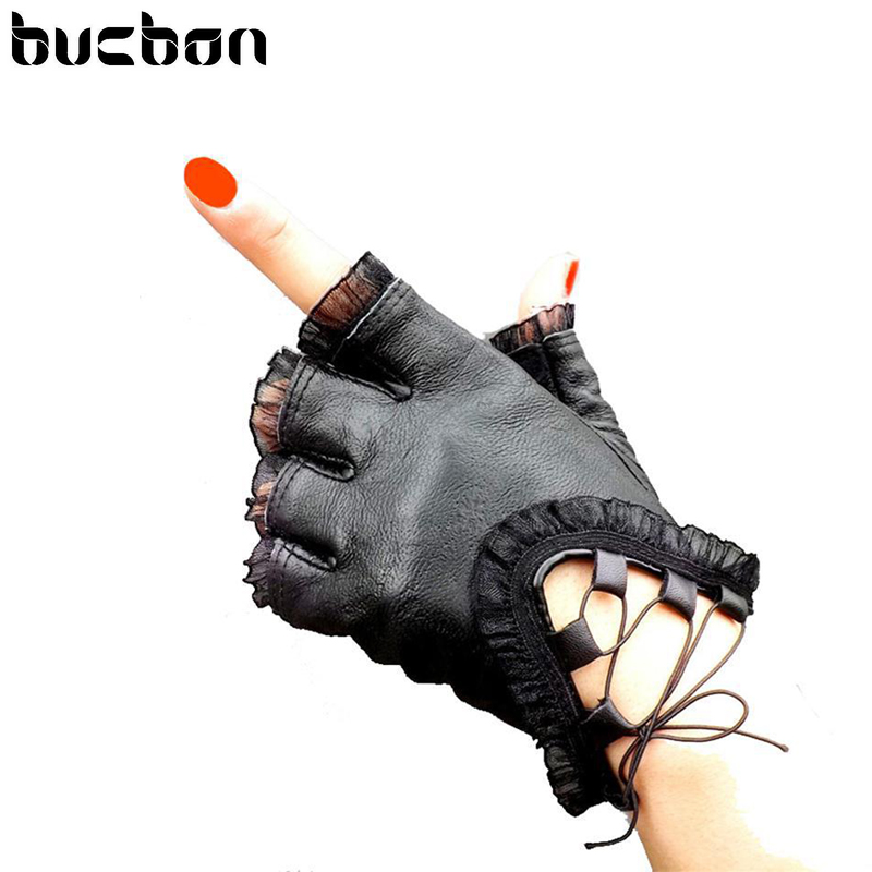 Women Black Half Finger Genuine Leather Gloves Soft Sheepskin Lace Trim Sexy Gloves Ladies Dance Costume Lace Glove AGL001