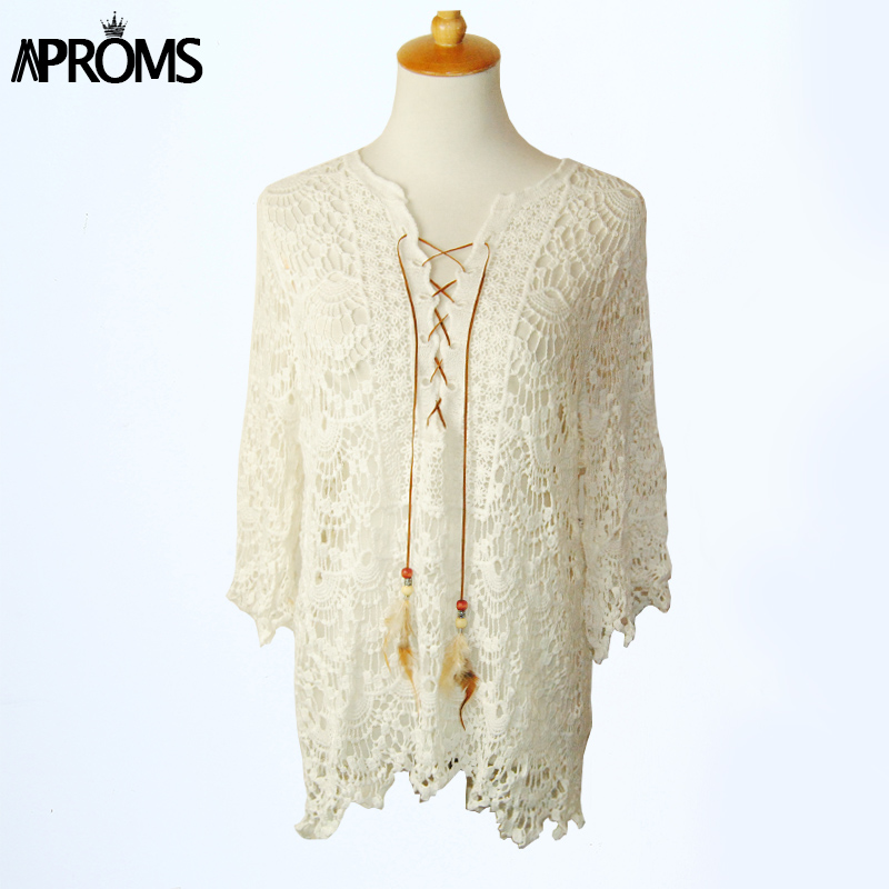 Autumn Elegant White Lace Blouse Tunic Shirt Women Tops 3/4 Sleeve Vintage Girls Blouse 2017 Sexy V Neck Renda Blusa 40445