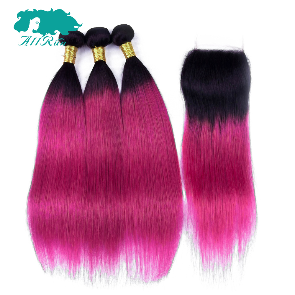 Allrun Pre-Colored Ombre Bundles With Closure 1B/Burg Non Remy Human Hair Weave Brazilian Straight 3 Bundles Pack With Closure