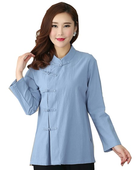 9bb26d747fb Shanghai Story Long Sleeve chinese Traditional Clothing Women s cheongsam  Top Blend Linen Blouse Chinese Qipao Shirt 3 color
