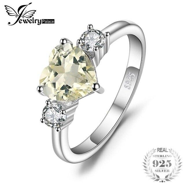 JewelryPalace Love Heart 1ct Genuine Gemstone Lemon Quartz and White Topaz 3 Sto