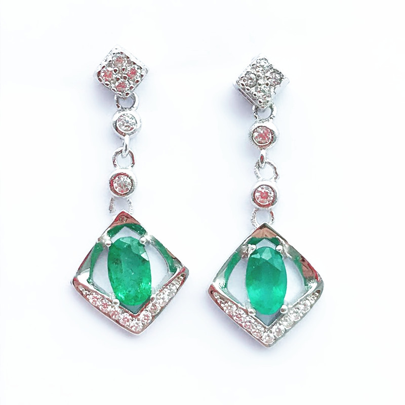 fashion 2019 hot sale fine jewelry 925 pure silver Colombia natural emerald drop Earrings support test