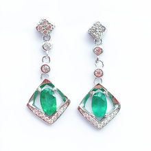 630bd0b5f fashion 2019 hot sale fine jewelry 925 pure silver Colombia natural emerald  drop Earrings support test
