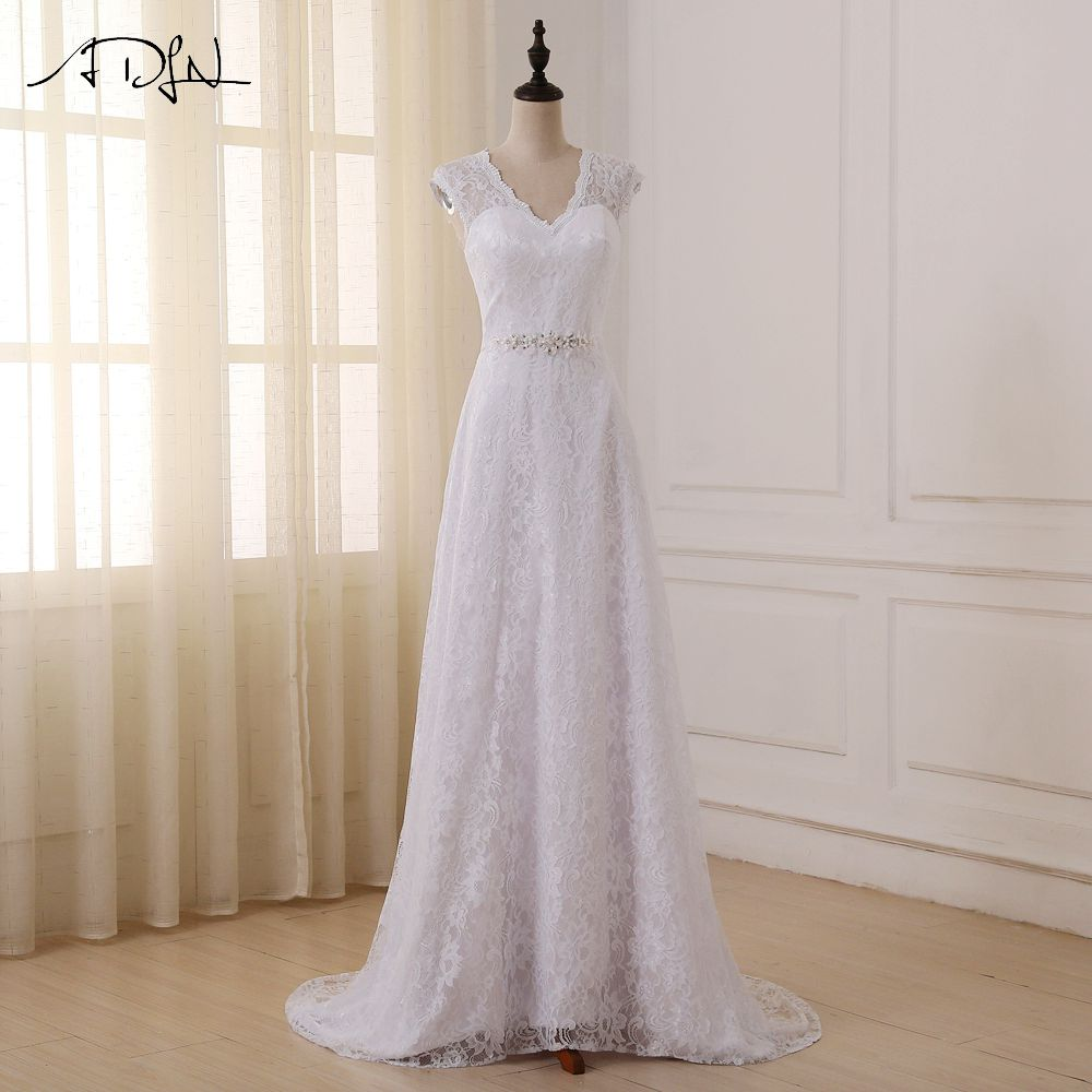Lace Wedding Gown With Cap Sleeves: ADLN Cheap Lace Wedding Dresses Elegant Cap Sleeve V Neck