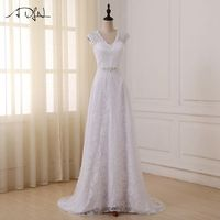 ADLN Cheap Lace Wedding Dresses Vestido De Novia Cap Sleeve V neck A line Bridal Gowns with Beaded Sashes In Stock Dress