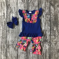 baby girls Summer spring clothing girls royal blue outfits children summer outfits floral with ruffle shorts clothing with bows