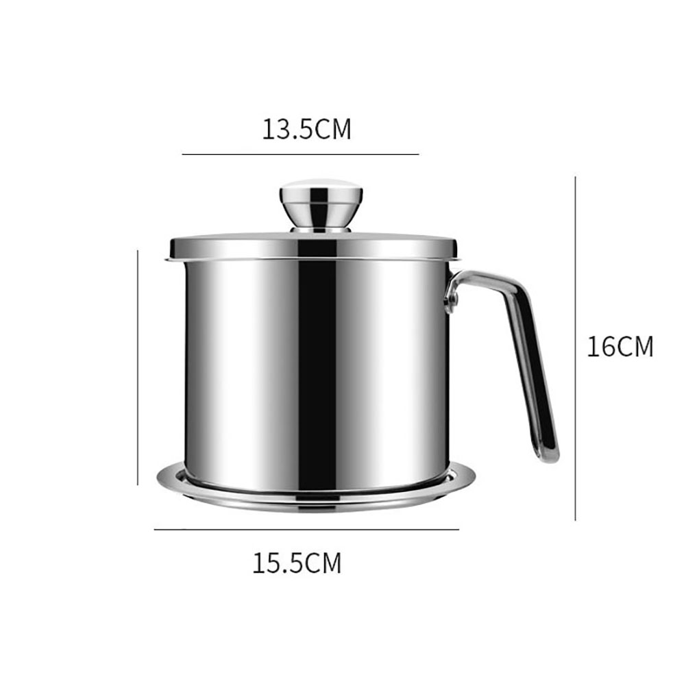 Kitchen Stainless Steel Cooking Oil Can Pot Grease Container with Mesh Strainer 2019 in Utensil Sets from Home Garden