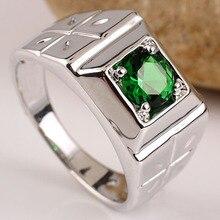 Родием мужская твердые 925 серебряное кольцо 6.0 мм круглый камень anillo hombre заказ малого и больших размеров гравировка обслуживание r510