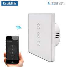 WiFi Curtain Switch EU Glass Panel Wireless touch switch, voice control by Alexa & Google For Smart Home Electric curtain Motor недорого