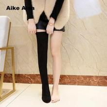 Plus Size 35-43 Thigh High Boots Female Winter Women Over The Knee Boots Low Heel Boots Sexy Fashion Shoes Botas Mujer Sexy W90