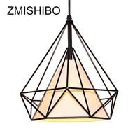 ZMISHIBO Vintage Grid Pendant Lamp Iron 110V 220V White Black 25 38 45 50CM Birdcage Ceiling