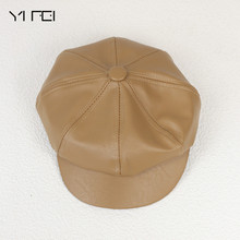 Octagonal Cap Hat Newsboy-Cap British-Style Genuine-Leather Woman of CBD High-Quality