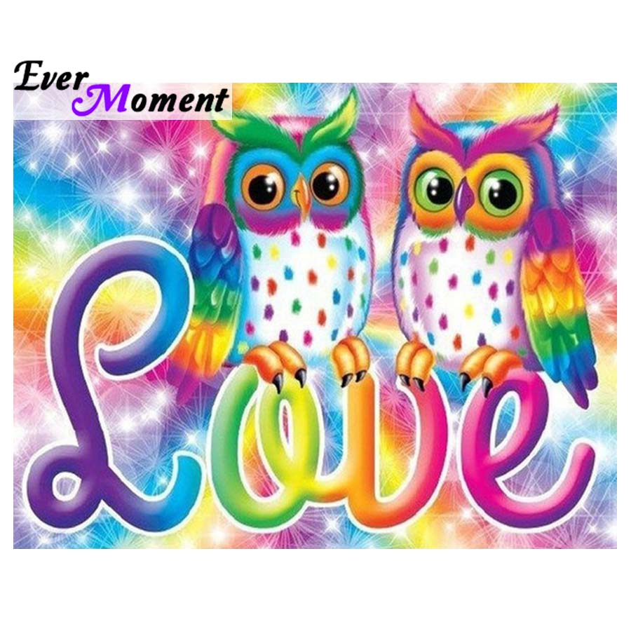 Ever Moment DIY Diamond Painting Owl Colorful Cross Stitch Full Square Diamond Embroidery Cartoon Love Decoration Home ASF1035Ever Moment DIY Diamond Painting Owl Colorful Cross Stitch Full Square Diamond Embroidery Cartoon Love Decoration Home ASF1035