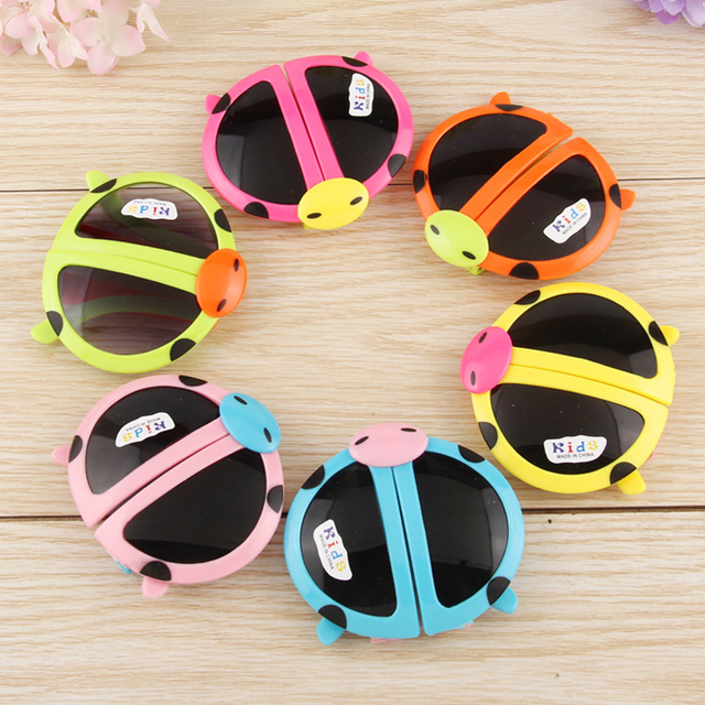 2366dd268f Colorful Kids Sunglass Folding Cartoon Ladybug Eyewear Boys Girls Favor  Foldable Birthday Kids Party Christmas Halloween