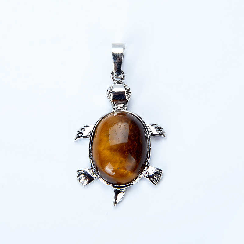 1PC Animal Tortoise Natural Stones Bead Pendants for Necklace Fashion Silver Plated Tiger Eye Turtle Charms Jewelry Findings