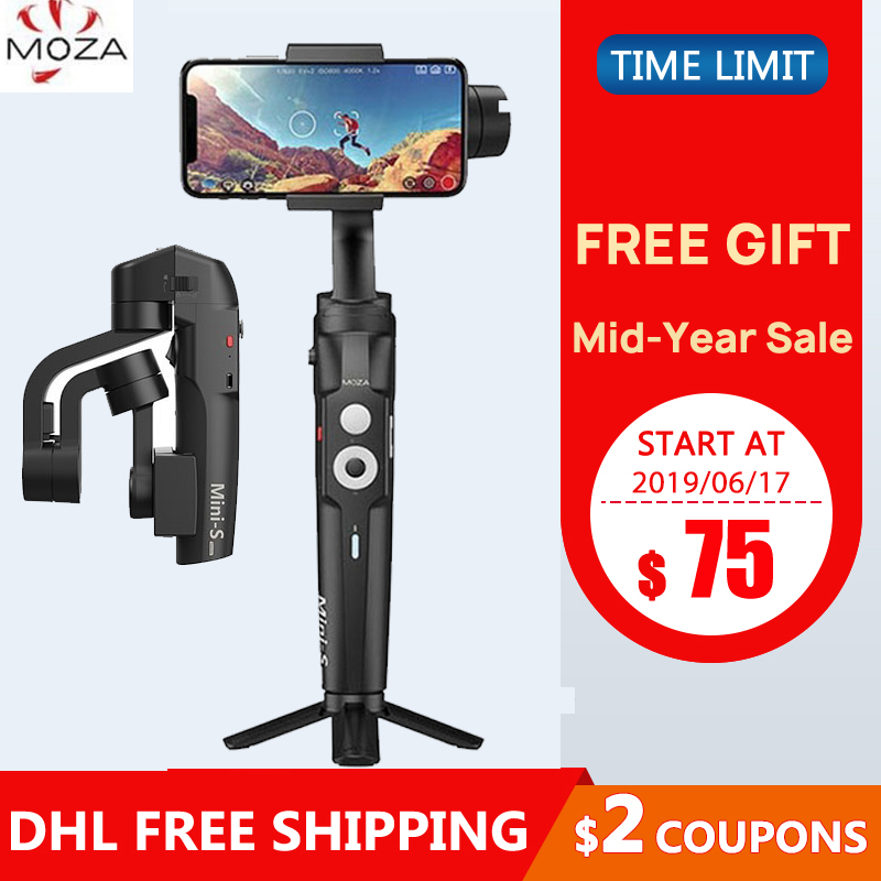 INSTOCK Foldable MOZA Mini S 3 Axis Handheld Gimbal Stabilizer for iPhone Andriod SmartPhone PK MINI