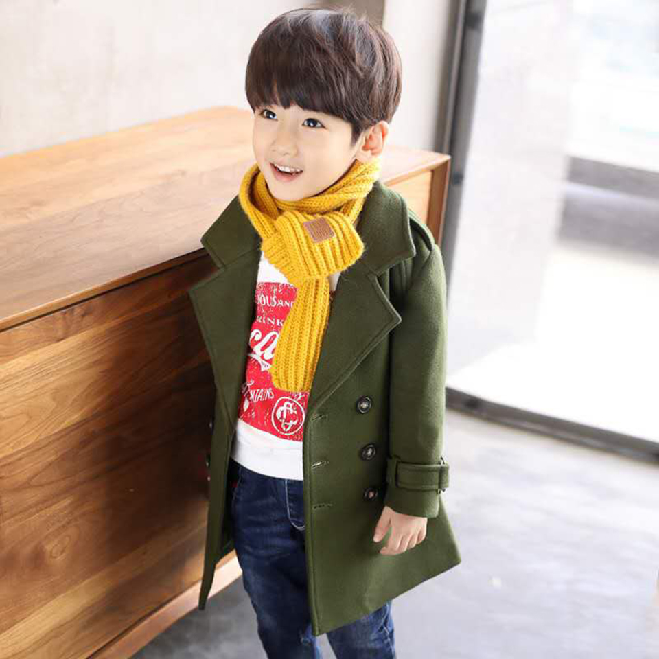 New Baby Boy V-neck Coat Jacket Windbreaker Outerwear Autumn Winter Woolen Outwear Good Quality Boys Coat 4 6 8 10 12 13 Yrs one button design longline woolen coat page 8