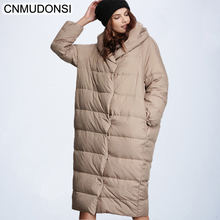CNMUDONSI Women's Winter Fashion Jacket Thick Warm Coat Lady Cotton Parka Jacket Long jaqueta Winter jacket with hood Feminina
