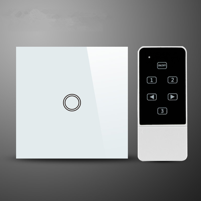 4-EU 1Gang2Way Smart Wall Light Touch Remote Control Switche Crystal Glass Panel AC110-220V,BlackWhite Compatible with RM2 RM Pro