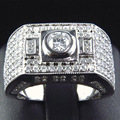 14K White Gold Diamond Wedding Ring Luxury EDI Edison0.5CT Round  Moissanites Lab Grown Diamond Mens Boss Engagement Ring